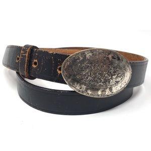 Vintage 90s Lands End Leather Belt